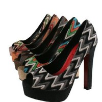 JACOBIES FLORA-2 Women¡¯s peep toe platform pump on chunky high heels with multi color zigzag fabric upper and red PU insole