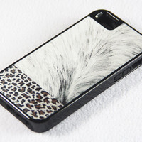 Stylish Leopard Hair with Skin iPhone 5 + 4S + 4 + 5C + 5S Tough Rubber and Soft Case, iPod 5 + 4 Case