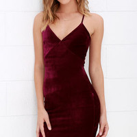 Something Special Wine Red Velvet Dress