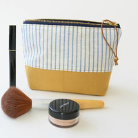 White Blue Yellow Striped Toiletry Zipper Pouch - Weatherproof Carry all bag- Nautical make up case,  Organizer Bag - Cosmetics Bag