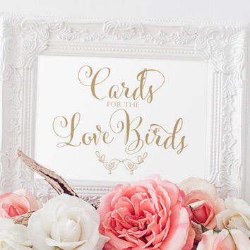 "Cards for the Love Birds Sign - 5 x 7 sign - DIY Printable sign in ""Bella"" antique gold script - PDF and JPG files - Instant Download"