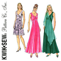 Evening Dress Pattern Bust 31 to 45 Uncut Kwik Sew 3382 Empire Waist Dress Shawl, Sleeveless V Neck Dress, Maxi Dress Womens Sewing Patterns