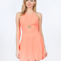 Scallop Dress With Strappy Open Back