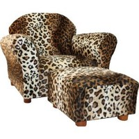 KEET Roundy Kid's Chair with Ottoman, Leopard