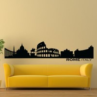 Vinyl Wall Decals Rome Italy Skyline City Silhouette Sticker Home Decor Art Mural Z601