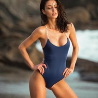 One Piece Bathing Suit FALLINDOLL  Swimsuit Women Swimwear Bandage Solid Bikini Bathing Suit Monokini Swim Wear badpak swimming suit for women KO_9_1