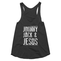 Johnny Jack & Jesus funny racerback tank, jack daniels, whiskey, festival, concert, country music, Johnny Cash