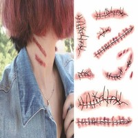 New arrival 1Pcs Halloween Special Costume Makeup Zombie Scars Tattoos with Fake Scab Blood
