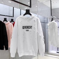 cc spbest Givenchy White Ripped Hoodies