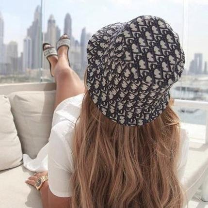 Image of Dior CD new bucket hat fashion men and women all-match sunscreen fisherman hat
