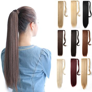 """24"""" Straight Wrap Around Ponytail Extension for Women - Synthetic Hair"""