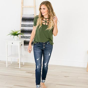 Lucy Caged Top - Olive