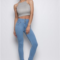 Talia Light Wash High Waisted Jeans at misspap.co.uk