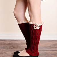Vintage Lace 2 Button Cable Knit Boot Socks Leg Warmers - All Colors!