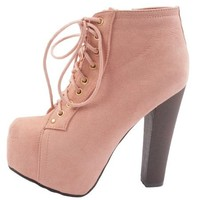 Breckelle`S Britney-01 Lace Up Wooden Chunky High Heel Ankle Boot