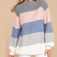 New striped loose pullover knit sweater