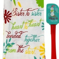Kitchen Towels Sister Gift 15x25 Spread The Frosting Snowman Spatula Chevron Set