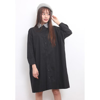 Hairy Jacquard Knit Collar Shirt Dress