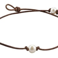 """High Quality Freshwater Cultured 9.5-10.5mm Single Pearl Choker Necklace on Brown Leather Cord, 14"""""""