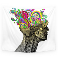 Society6 Bright Neon Pink Yellow Abstract Anatomic Wall Tapestry