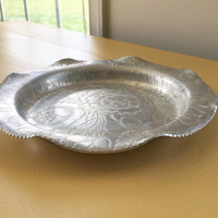 Vintage Anodized Aluminum Serving Tray, Decorative 9 Inch Galvanized Metal Plate, Small Hand Wrought Aluminum Tray