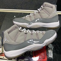 "Nike Air Jordan 11 AJ11 Low ""Cool Grey"" Patent Leather Fashion Men's Low Top Shoes Casual Sports Shoes"