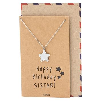 Aranza Birthday Gifts for Sister, Star Necklace Pendant