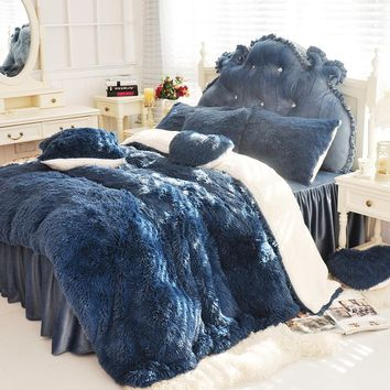 3/4/6/7 pcs Pure Color Mink Velvet Bedding Sets Extra color lambs wool Fleece Duvet Cover Bed skirt Fitted Twin Queen King size