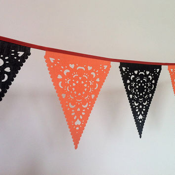 Halloween Garland Orange & Black lace fabric Garland over 8ft, Holidays, Wedding Garland, Birthday Party, Party Decor