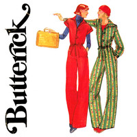 1970s Jumpsuit Pattern Bust 32 Butterick 5027 Wing Collar, Drawstring Waist, Wide Leg Jumpsuit, Palazzo Pant Womens Vintage Sewing Patterns