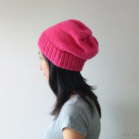 Hand Knitted Chunky Hat in Pink - Fuchsia Sparkly Slouch Hat - Seamless Winter Hat - Wool Blend