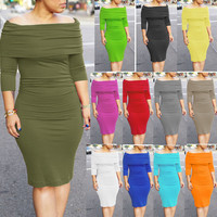 Sexy Fold Off-Shoulder Long Sleeves Bodycon Dress