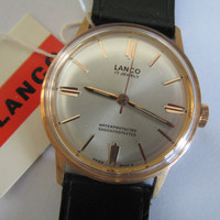 Vintage rare Lanco Swiss watch 420 17j NIB with tags men's wristwatch - Gift for him
