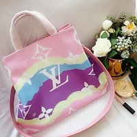 Onewel Lv 2020 Gm ice cream gradient shopping bag shopping big bag pink