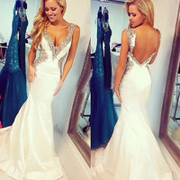 Custom Made Sexy Cap Sleeve V Neck Crystal Beaded White Mermaid Prom Dresses 2016 Long Party Dresses Backless Evening Gowns