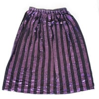 Small Purple sequins skirt, Black Cotton fabric with Stripes, Fancy skirt for wedding, Mothers of Bride Dressy Skirt 30 inch long Skirt