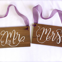 Mr. and Mrs. Wooden Signs - Chair Signs or Photo Props - Rustic Weddings - (WD-9)