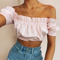 Hot Comfortable Beach Sexy Summer Stylish Bralette Spaghetti Strap Bra Hot Sale Winter Women's Fashion Short Sleeve Vest [198152159247]
