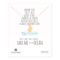 Dogeared Take Me to the Ocean Pretty Mermaid Necklace, Gold Dipped
