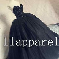 New Black Ball Gown Prom Party Pageant Formal Gown Wedding Quinceanera Dresses