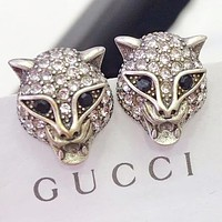 GUCCI New fashion diamond leopard head earring women