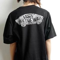 Vans classic skate printed shoes embroidered short sleeves casual sport round collar T-shirt summer for both men and women