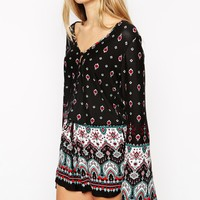 ASOS TALL Festival Playsuit With Bell Sleeve