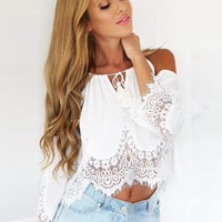2016 Women's Sexy Bud Silk Chiffon Camis crop top Patchwork Style Fashion Short tshirt women Solid Color Hollow Out T-shirts