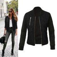 Autumn Women Basic Coat Casual Long Sleeve Bomber Jacket Outwear Jackets Abrigos Mujer