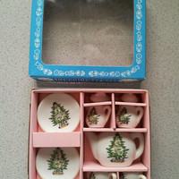 Vintage Toy China Christmas Tree Tea Set 9 PC 1983 B Shackman Co NO 21368