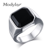 New Design Rock Punk Big Black Stone Ring for Man Stainless Steel Engagement Rings