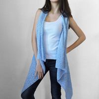 FREE SHIPPING Pure cotton vest Knitted light blue long vest Spring summer vest Lace vest Sky blue Plus size overcoat Extra large S - XXXL