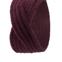 Twisted Sweater Knit Head Wrap by Charlotte Russe - Oxblood