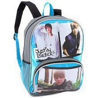 Justin Bieber Cut and Paste 16 inch Backpack - Blue and Grey